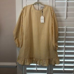 English Factory Yellow Striped Wrap Dress